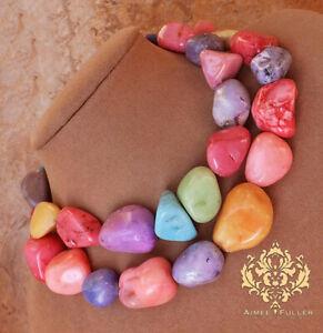 Rainbow Jade Chunky Statement Necklace Green Pink Aqua Blue Purple Lavender Gems