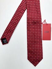 Hugo Boss Men's Tie Necktie Made in Italy Red Blue Paisley 7 cm 100% Silk