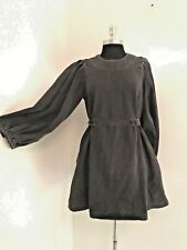 NWOT & Other Stories distressed black puffed sleeve cotton denim short dress 8
