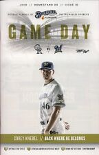 COREY KNEBEL ON COVER MILWAUKEE BREWERS 2018 OFFICIAL GAMEDAY PROGRAM ISSUE #18