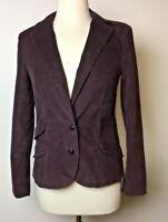 London Jean Womens Purple Soft Stretch Wale Corduroy Fitted Blazer Jacket S 2