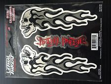 Lethal/Threat Flaming Skull Chrome 3-D Domed Body Decal Set Emblem Logo Sticker
