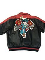 Vintage Maziar Betty Boop Leather Jacket Statue Of Liberty Size Large Rare