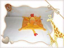 ☼ - Doudou Semi Plat Carré  Girafe Jaune Orange Ronds  Pommette