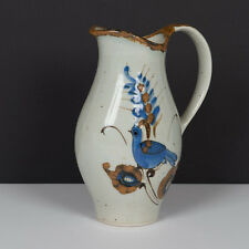 Ken Edwards TONALA Hand Painted Vintage Mexican Pottery Blue Bird Dove Pitcher