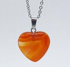Carnelian Necklace Love Heart Pendant Quartz High Quality Crystal Gemstone Yoga
