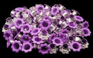 100pcs Lilac Purple Violet Flowers EYELETS Scrapbooking Hole LeatherCraft E059