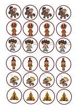 24 x commestibile glassa DECORAZIONI PER TORTA DECORAZIONI Cowboy e INDIANI occidentali tema