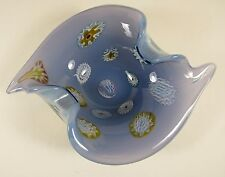 Vintage MURANO Fratelli Toso Blue Opalescent Murrines Italian Art Glass Bowl
