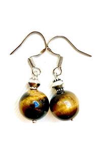 Tiger's Eye Gemstone Drop Dangle Earrings Gifts for her, women' s Earrings