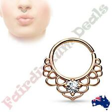CZ Centered Rose Gold Ion Plated Lotus Filigree All Brass Bendable Septum Ring