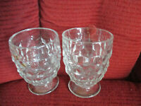 "Set of 2 Vintage Indiana Glass Clear Whitehall Footed Cubist  Glasses 4 1/2"" t"
