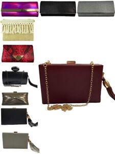 Womens Clutch Bag Envelope Box Cross Body Handle Handbag Evening Wedding New