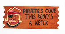 50 cm VINTAGE LOOK DECORATIVE WOODEN WALL SIGN PIRATES - for boy's bedroom, new