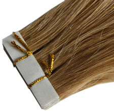 2 Human Hair TAPE EXTENSIONS TRESSES Smooth 50 cm long hair extension remy