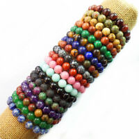 10mm Mixed Gemstone Round Bead stretchy Bracelet 7.5 inch
