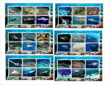 2015 SHARKS MARINE LIFE FISH 6 SOUVENIR SHEETS MNH IMPERFORATED