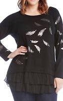 NEW  Karen Kane Plus Glisten Up Feather Print Cozy Black Blouse Top Sweater 3X