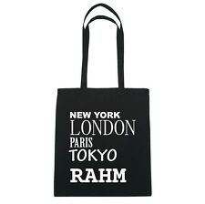 New York, LONDON, PARIS, TOKYO MEDIANO - Bolsa de yute - Color: Negro