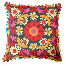"Suzani Cushion Cover Embroidered Pillow Cover Handmade Sofa Sham 16"" Square Boho"
