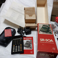 Vtg Calculator Texas Instruments SR 50A with adapter case and original box