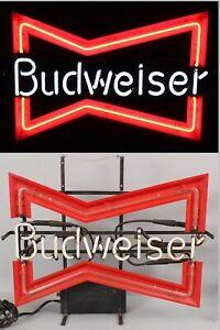 Vintage 1968 Barroom Bar Anheuser Budweiser Beer Bow Tie Neon Advertising Sign