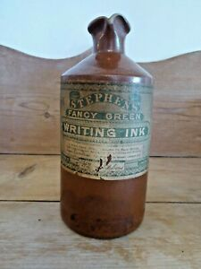 Very Rare Small Antique  Stoneware Jar Stephens Fancy Green Writing Ink