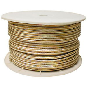 3/8 Inch x 600 Ft Gold and White Double Braid Nylon Rope Spool for Boats