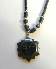 Hematite Necklace & pendant- sun with smily face-silver toned beads