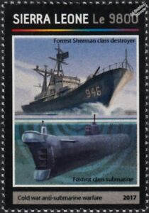 USS EDSON Forrest Sherman Destroyer & Foxtrot Class Submarine Warship Stamp 2017