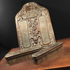 Vtg Antique Dutch Clothes Brush & Holder Holland Windmill Repousse PRIORITY MAIL