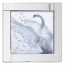 Square Picture Mirror Frame with Glittered Swan Illustration in Silver Litecraft