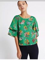 M&S Per Una Green Floral Ruffle 3/4 Sleeve Top Size UK 16 rrp £25 DH086 LL 06