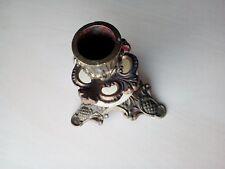 vieux petit bougeoir ancien en laiton et pierre  10x10.5 cm 244 gr.  BR15.D5