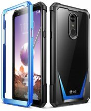 LG Stylo 4 Rugged Clear Case,Poetic Hybrid Shockproof Bumper Cover Blue