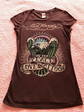 ED HARDY WOMAN JUNIOR T SHIRT PEACE, LOVE & TATTOOS EAGLE BROWN CRYSTALS SMALL