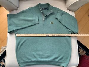 Notre Dame Gold Football Men's Sweater Green NWOT