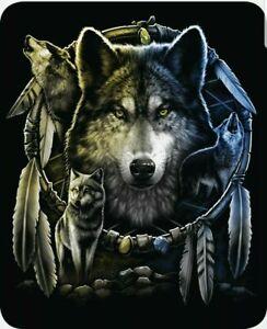Queen Size Wolf Mandela Dreamcatcher Wolves Mink Blanket Super Soft Plush Fleece