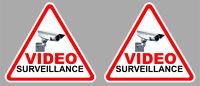 2 X VIDEO SURVEILLANCE CAMERA PROTECTION 9cm AUTOCOLLANT STICKER VA092