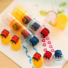 Plastic Mini Ink Stamp Roller Diary Seal Fun Kids Toy Ink Pad Cartoon DIYB_EN