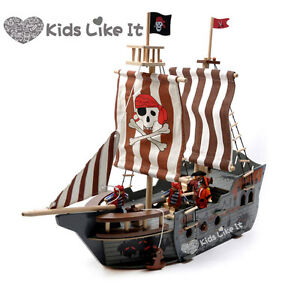 Imaginarium WOODEN Pirate SHIP 68CM LARGE BOAT Pretend PLAY--SHIP ONLY