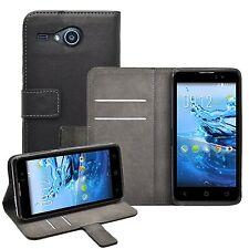 Billetera De Cuero Negro Flip Funda Protectora bolsa para teléfono móvil Acer líquido Z520