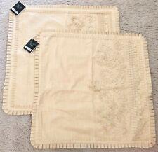 "Set of 2: Nwt Kim Seybert Ribbon Embellished Decorative Pillow Sham Cover 22"" Sq"