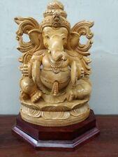 Ganesh Musical Ganesha Sculpture Hindu God Handcarved Wooden Statue Idol Murti