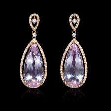 18K ROSE GOLD DIAMOND AND PINK AMETHYST DANGLE EARRINGS