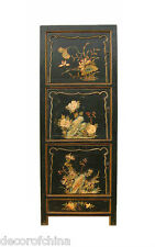 Black Chinese Wooden Storage Cabinet Bookcase w/Floral Painting 3 Doors & Drawer