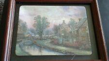 "1997 Thomas Kinkade ""Lamplight Lane"" Rectangular framed Plate Home decor pic"