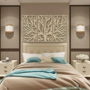 004 Modern Tree of Life 3 panels Wooden Wood Wall Art Decor MDF Oak Ash
