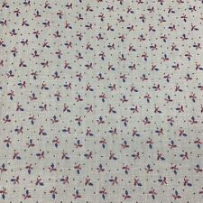 Vtg Country Cotton quilting Fabric print mulberry blue grey tiny floral