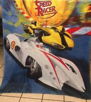 "VGUC-60"" x 44"" Speed racer Cars Yellow White Blanket Fleece Throw toddler Nap"